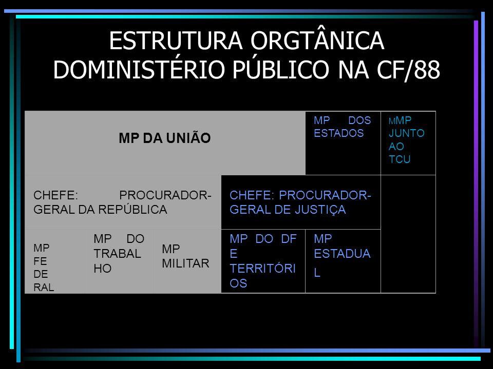 ESTRUTURA ORGTÂNICA DOMINISTÉRIO PÚBLICO NA CF/88 MP DA UNIÃO MP DOS ESTADOS M MP JUNTO AO TCU CHEFE: PROCURADOR- GERAL DA REPÚBLICA CHEFE: PROCURADOR