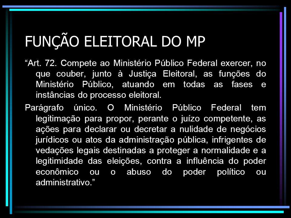 FUNÇÃO ELEITORAL DO MP Art. 72. Compete ao Ministério Público Federal exercer, no que couber, junto à Justiça Eleitoral, as funções do Ministério Públ