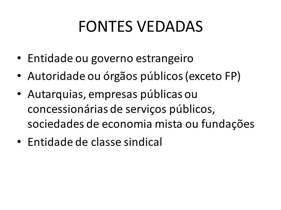 FONTES VEDADAS Entidade ou governo estrangeiro Autoridade ou órgãos públicos (exceto FP) Autarquias, empresas públicas ou concessionárias de serviços