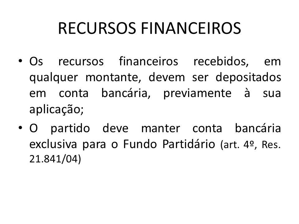 RECURSOS FINANCEIROS Os recursos financeiros recebidos, em qualquer montante, devem ser depositados em conta bancária, previamente à sua aplicação; O