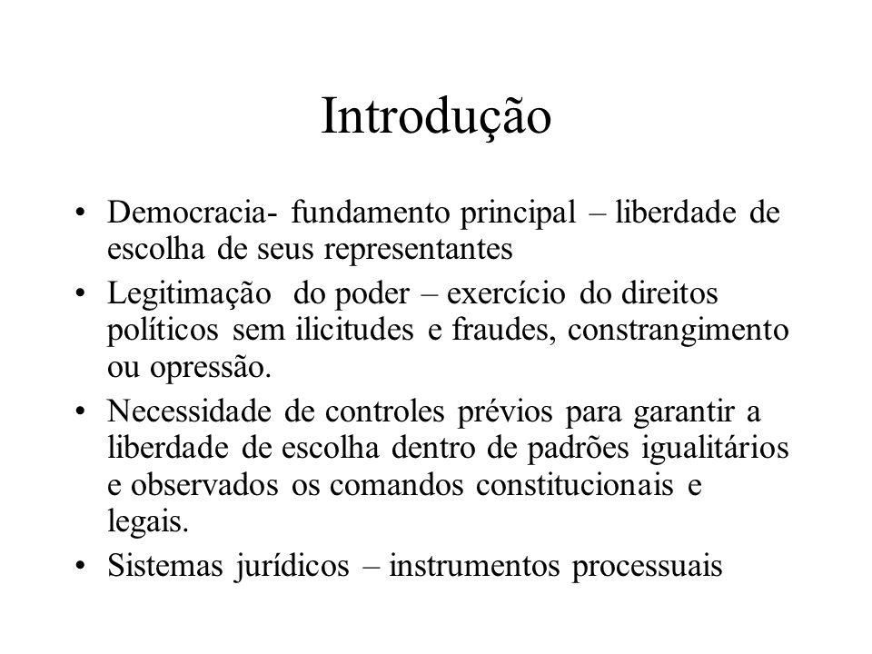 Introdução Democracia- fundamento principal – liberdade de escolha de seus representantes Legitimação do poder – exercício do direitos políticos sem i