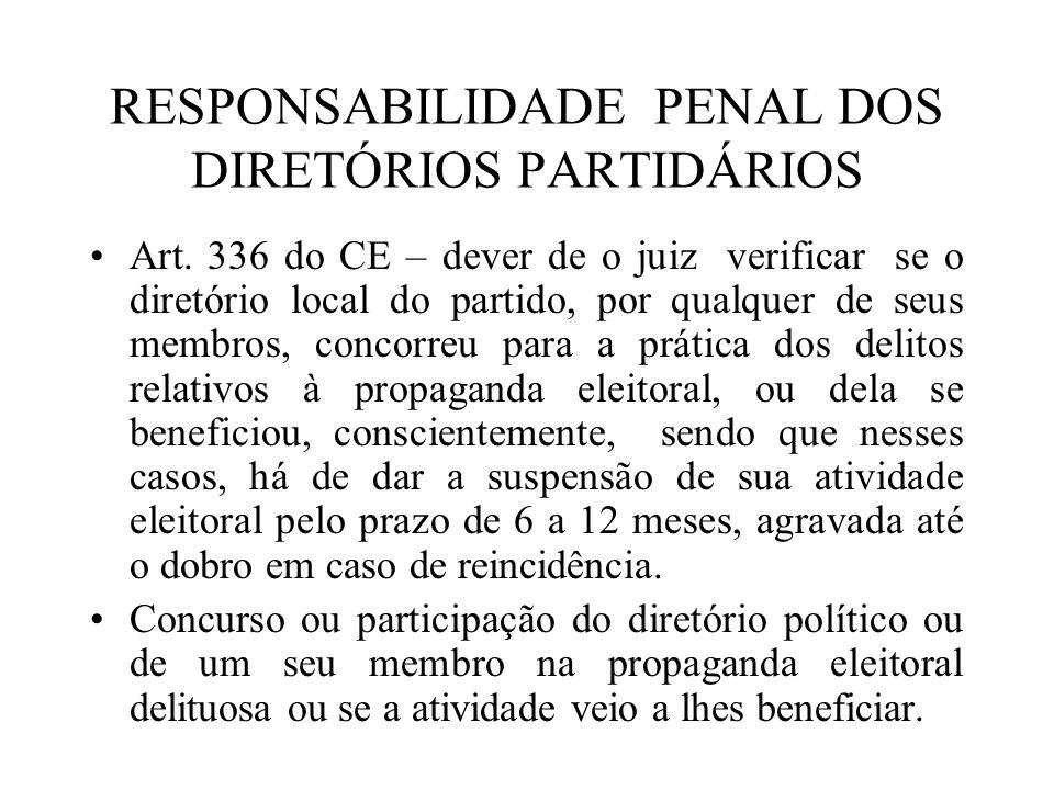 RESPONSABILIDADE PENAL DOS DIRETÓRIOS PARTIDÁRIOS Art. 336 do CE – dever de o juiz verificar se o diretório local do partido, por qualquer de seus mem
