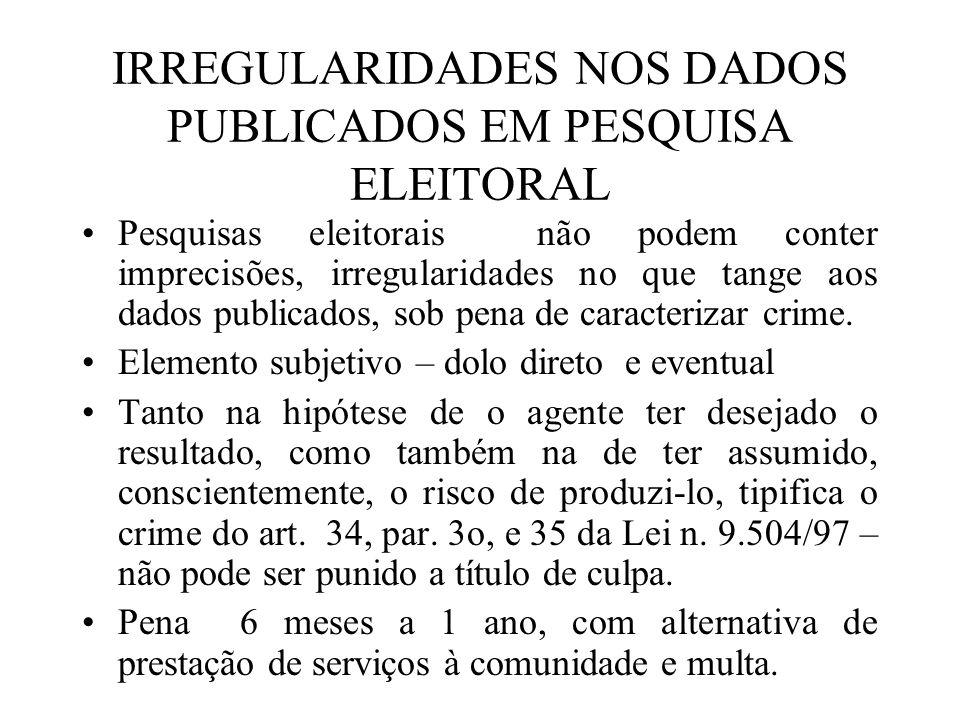 IRREGULARIDADES NOS DADOS PUBLICADOS EM PESQUISA ELEITORAL Pesquisas eleitorais não podem conter imprecisões, irregularidades no que tange aos dados p