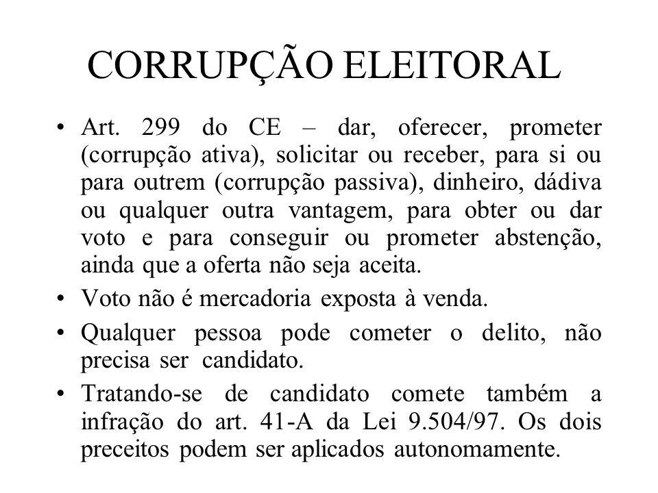 CORRUPÇÃO ELEITORAL Art. 299 do CE – dar, oferecer, prometer (corrupção ativa), solicitar ou receber, para si ou para outrem (corrupção passiva), dinh