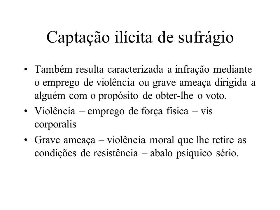 Captação ilícita de sufrágio Também resulta caracterizada a infração mediante o emprego de violência ou grave ameaça dirigida a alguém com o propósito