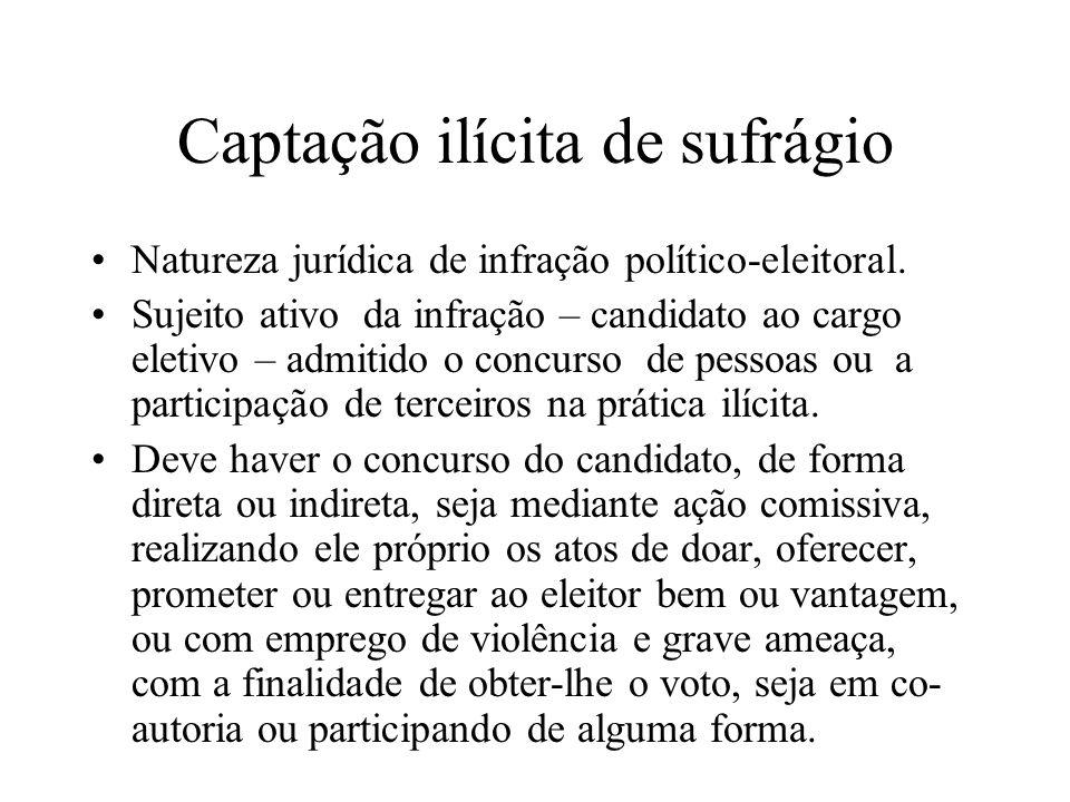 Captação ilícita de sufrágio Natureza jurídica de infração político-eleitoral. Sujeito ativo da infração – candidato ao cargo eletivo – admitido o con