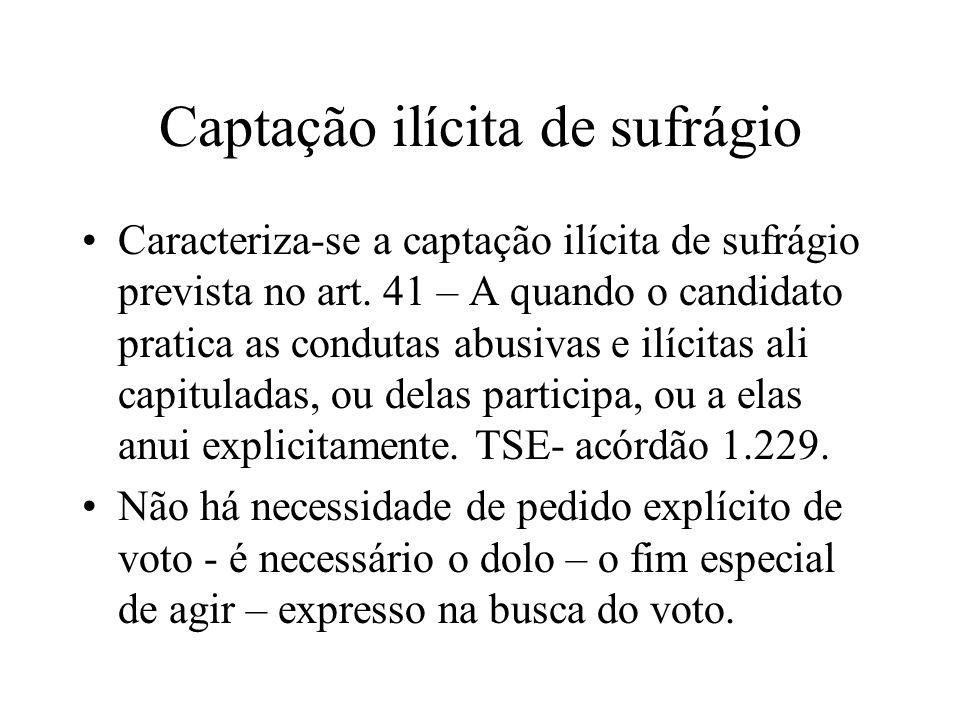 Captação ilícita de sufrágio Caracteriza-se a captação ilícita de sufrágio prevista no art. 41 – A quando o candidato pratica as condutas abusivas e i