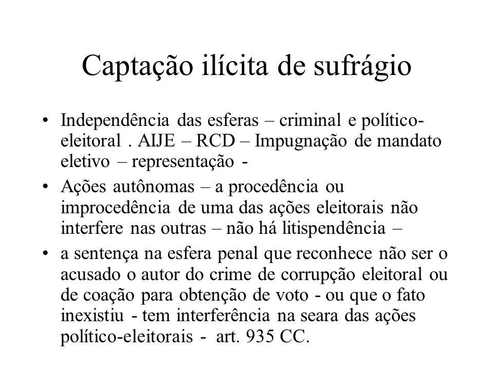 Captação ilícita de sufrágio Independência das esferas – criminal e político- eleitoral. AIJE – RCD – Impugnação de mandato eletivo – representação -
