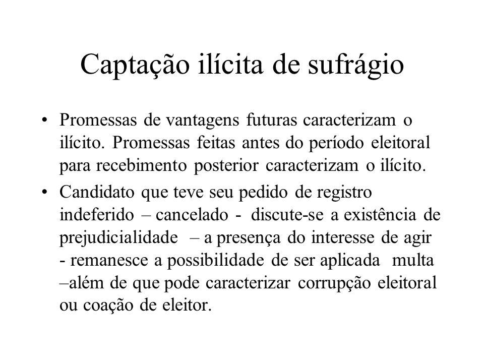 Captação ilícita de sufrágio Promessas de vantagens futuras caracterizam o ilícito. Promessas feitas antes do período eleitoral para recebimento poste