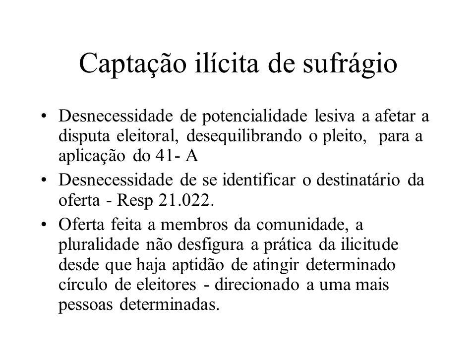 Captação ilícita de sufrágio Desnecessidade de potencialidade lesiva a afetar a disputa eleitoral, desequilibrando o pleito, para a aplicação do 41- A