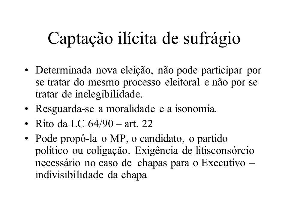 Captação ilícita de sufrágio Determinada nova eleição, não pode participar por se tratar do mesmo processo eleitoral e não por se tratar de inelegibil