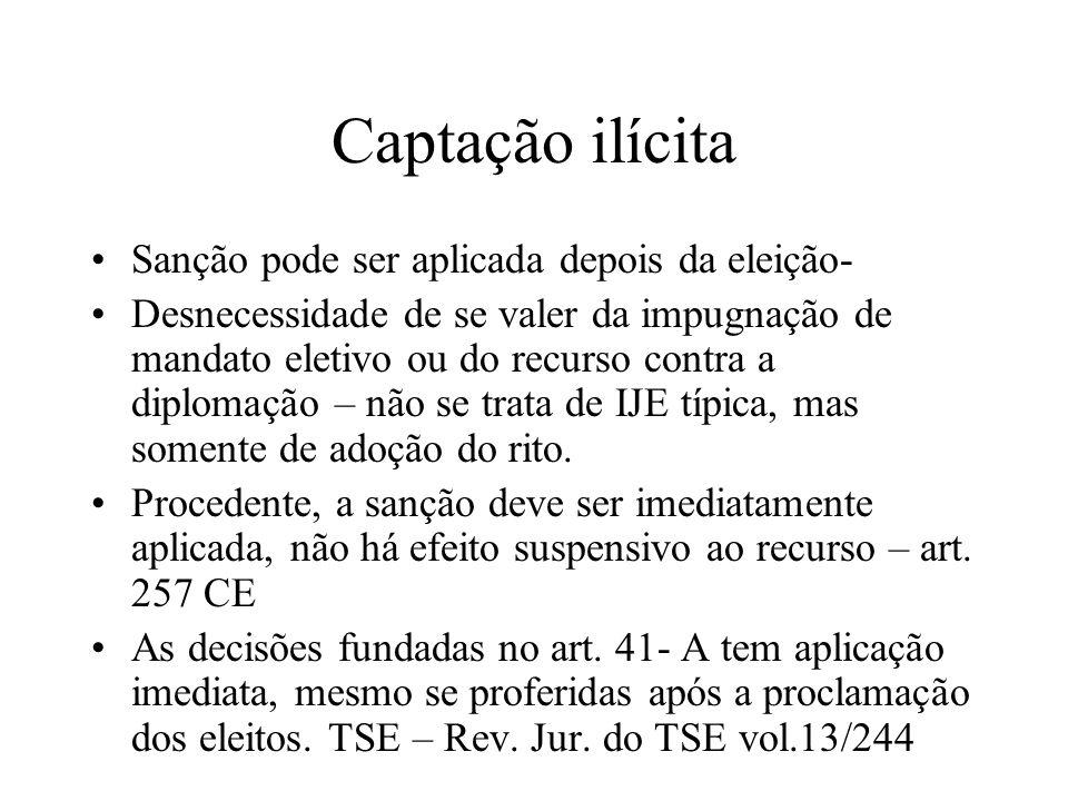 Captação ilícita Sanção pode ser aplicada depois da eleição- Desnecessidade de se valer da impugnação de mandato eletivo ou do recurso contra a diplom