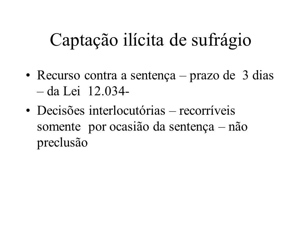 Captação ilícita de sufrágio Recurso contra a sentença – prazo de 3 dias – da Lei 12.034- Decisões interlocutórias – recorríveis somente por ocasião d
