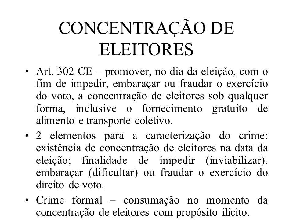 CONCENTRAÇÃO DE ELEITORES Art. 302 CE – promover, no dia da eleição, com o fim de impedir, embaraçar ou fraudar o exercício do voto, a concentração de