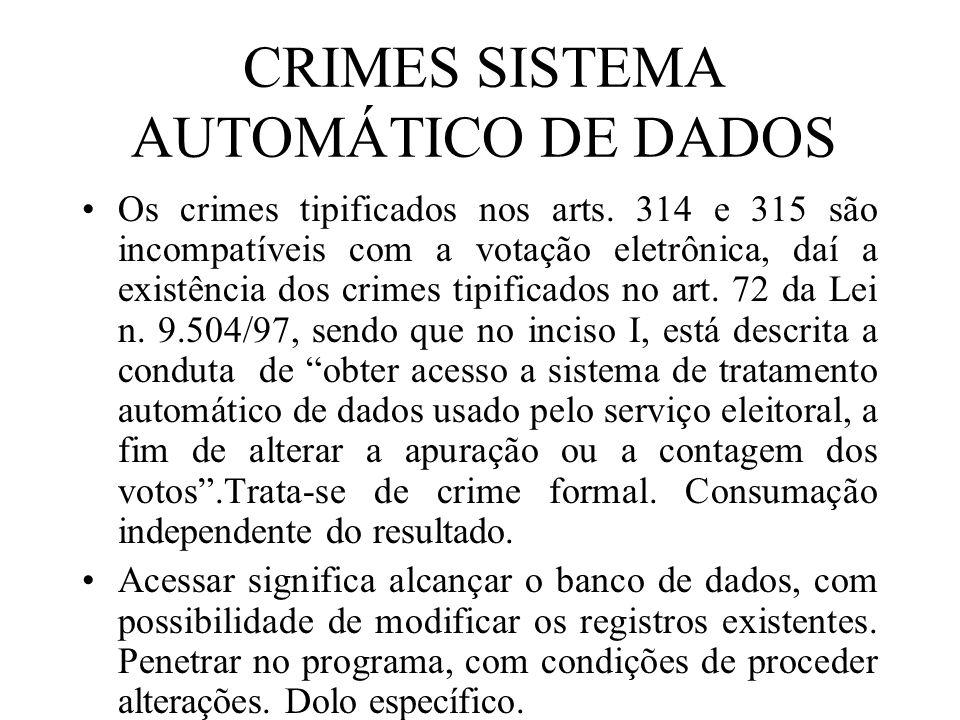 CRIMES SISTEMA AUTOMÁTICO DE DADOS Os crimes tipificados nos arts. 314 e 315 são incompatíveis com a votação eletrônica, daí a existência dos crimes t