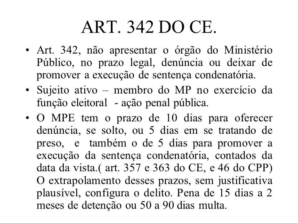 ART. 342 DO CE. Art. 342, não apresentar o órgão do Ministério Público, no prazo legal, denúncia ou deixar de promover a execução de sentença condenat