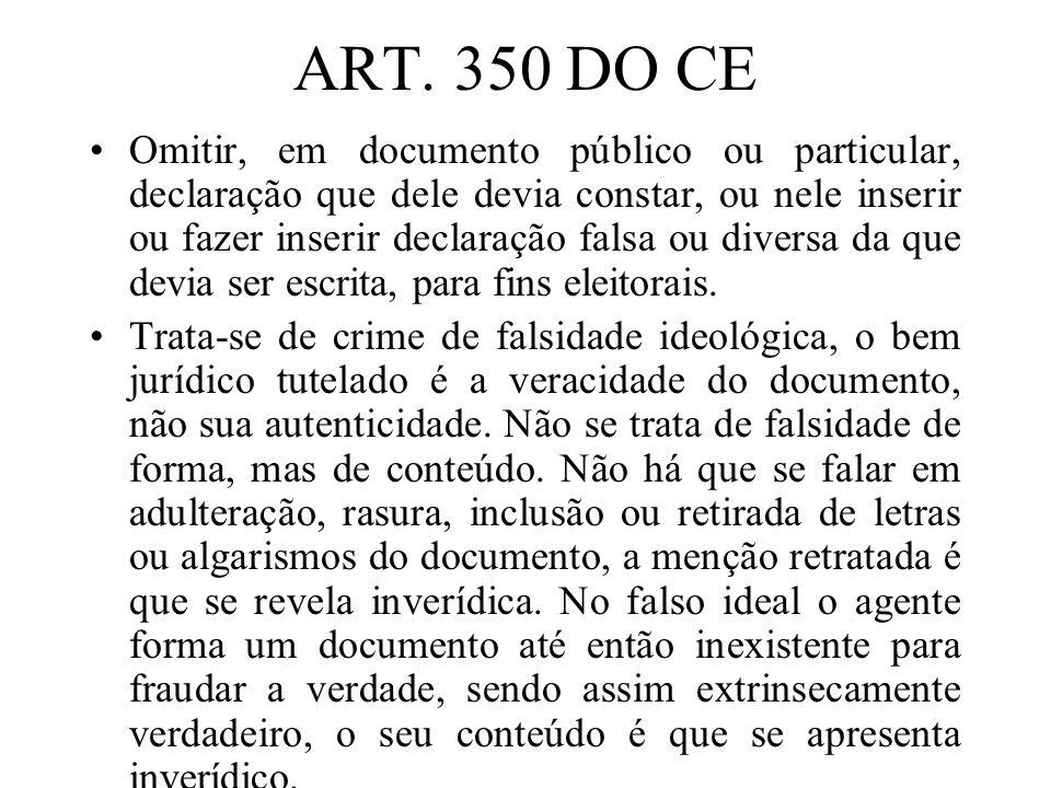 ART. 350 DO CE Omitir, em documento público ou particular, declaração que dele devia constar, ou nele inserir ou fazer inserir declaração falsa ou div