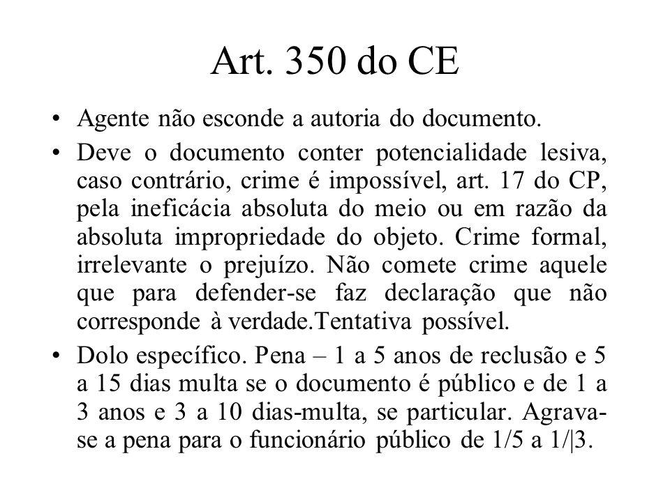 Art. 350 do CE Agente não esconde a autoria do documento. Deve o documento conter potencialidade lesiva, caso contrário, crime é impossível, art. 17 d