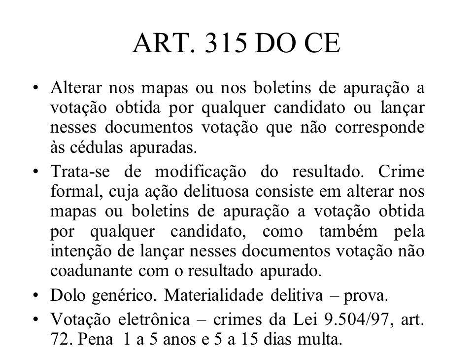 ART. 315 DO CE Alterar nos mapas ou nos boletins de apuração a votação obtida por qualquer candidato ou lançar nesses documentos votação que não corre