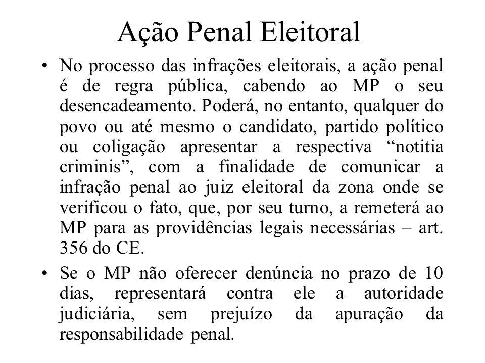 Ação Penal Eleitoral No processo das infrações eleitorais, a ação penal é de regra pública, cabendo ao MP o seu desencadeamento. Poderá, no entanto, q
