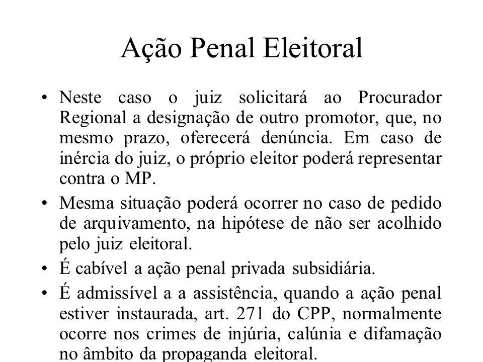Ação Penal Eleitoral Neste caso o juiz solicitará ao Procurador Regional a designação de outro promotor, que, no mesmo prazo, oferecerá denúncia. Em c