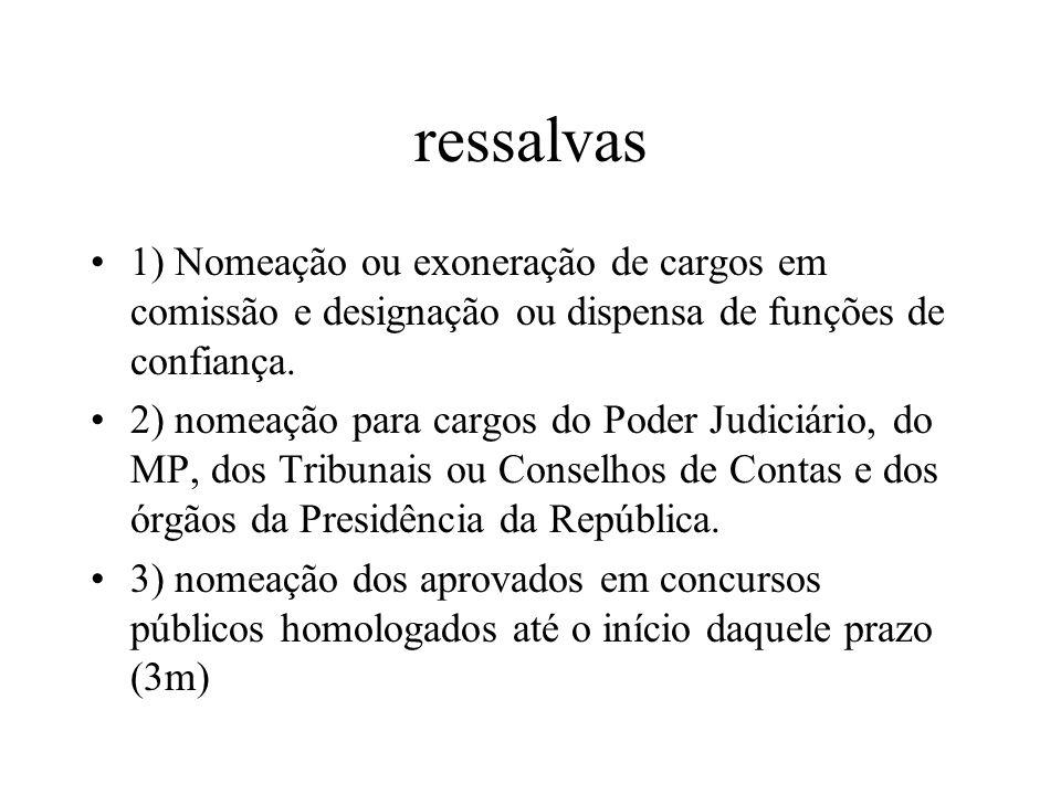 ressalvas 1) Nomeação ou exoneração de cargos em comissão e designação ou dispensa de funções de confiança. 2) nomeação para cargos do Poder Judiciári