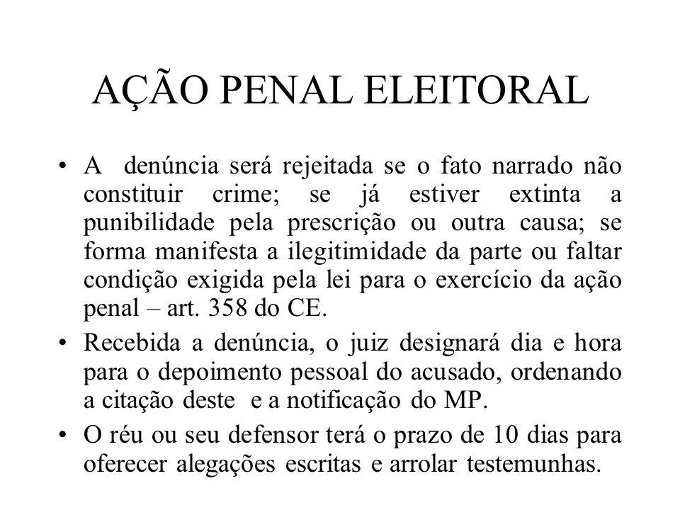 AÇÃO PENAL ELEITORAL A denúncia será rejeitada se o fato narrado não constituir crime; se já estiver extinta a punibilidade pela prescrição ou outra c