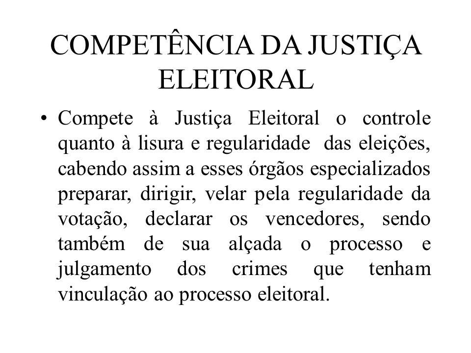 COMPETÊNCIA DA JUSTIÇA ELEITORAL Compete à Justiça Eleitoral o controle quanto à lisura e regularidade das eleições, cabendo assim a esses órgãos espe