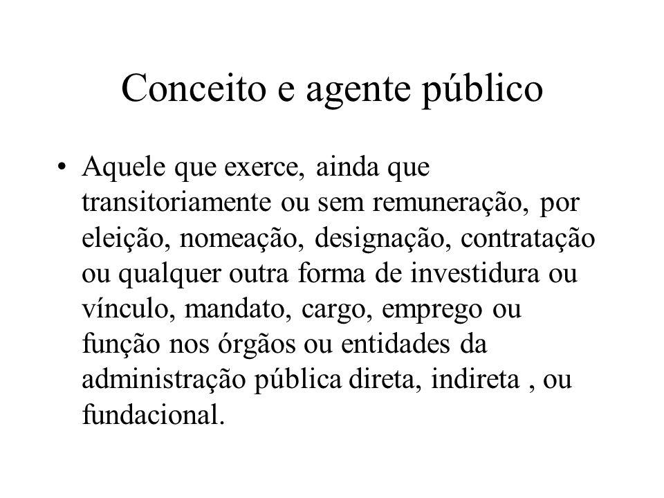 Conceito e agente público Aquele que exerce, ainda que transitoriamente ou sem remuneração, por eleição, nomeação, designação, contratação ou qualquer