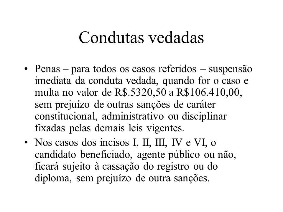 Condutas vedadas Penas – para todos os casos referidos – suspensão imediata da conduta vedada, quando for o caso e multa no valor de R$.5320,50 a R$10