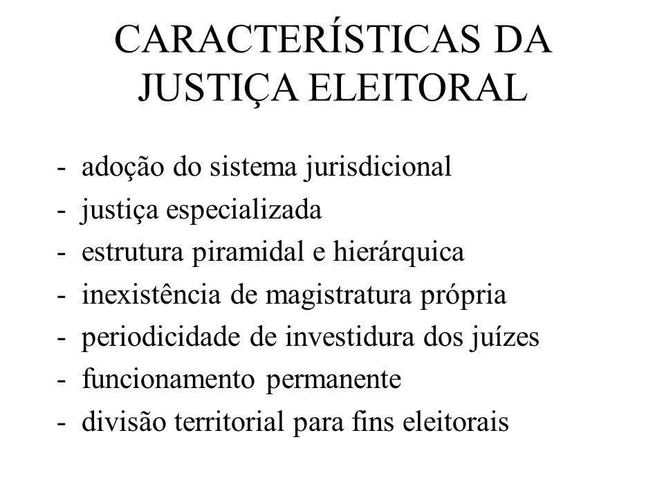 CARACTERÍSTICAS DA JUSTIÇA ELEITORAL -adoção do sistema jurisdicional -justiça especializada -estrutura piramidal e hierárquica -inexistência de magis
