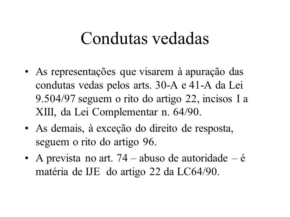 Condutas vedadas As representações que visarem à apuração das condutas vedas pelos arts. 30-A e 41-A da Lei 9.504/97 seguem o rito do artigo 22, incis