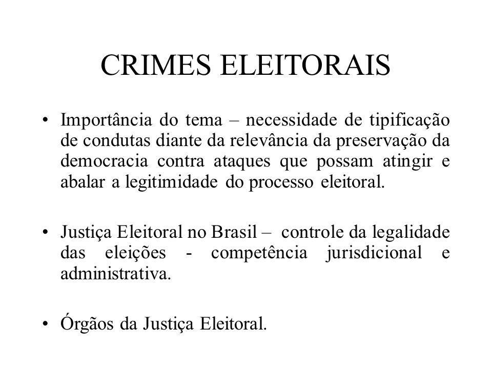 CRIMES ELEITORAIS Importância do tema – necessidade de tipificação de condutas diante da relevância da preservação da democracia contra ataques que po