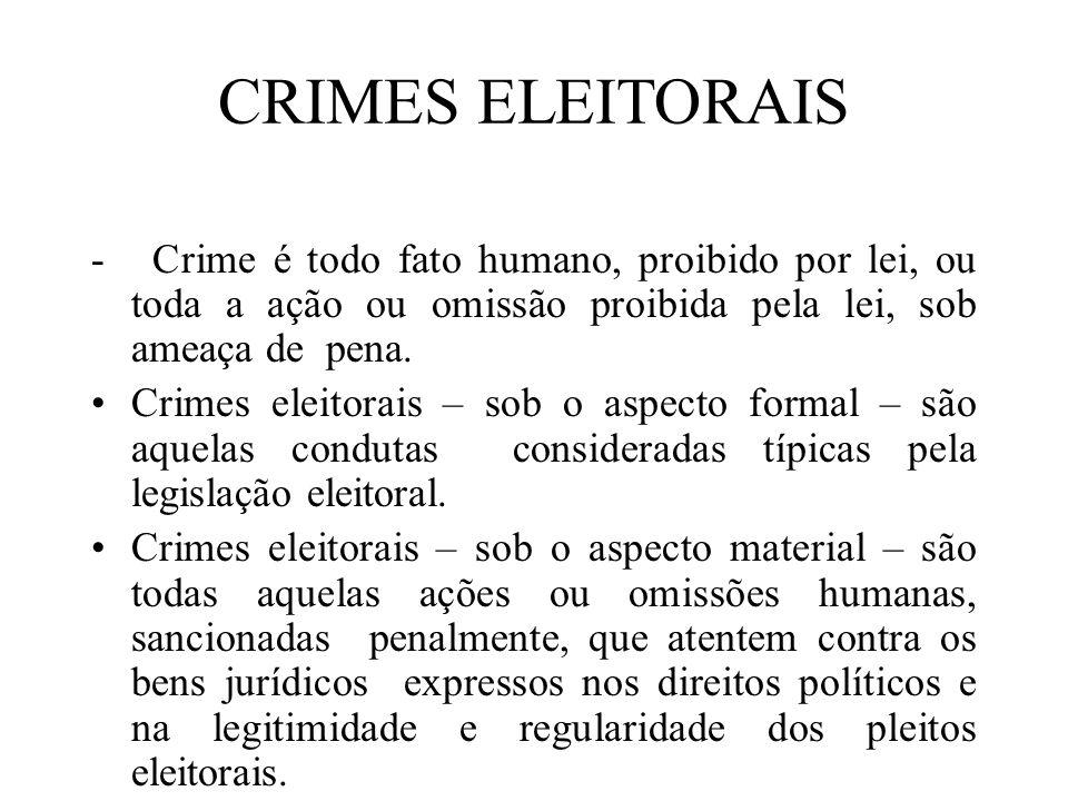 CRIMES ELEITORAIS - Crime é todo fato humano, proibido por lei, ou toda a ação ou omissão proibida pela lei, sob ameaça de pena. Crimes eleitorais – s