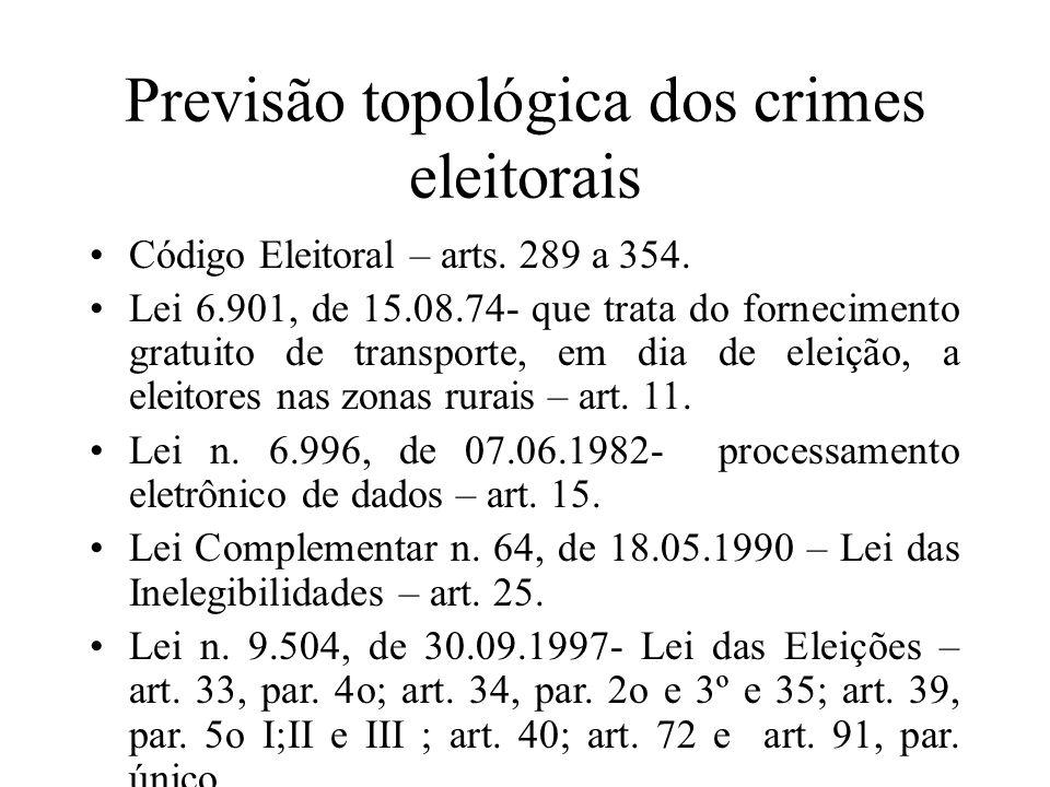 Previsão topológica dos crimes eleitorais Código Eleitoral – arts. 289 a 354. Lei 6.901, de 15.08.74- que trata do fornecimento gratuito de transporte