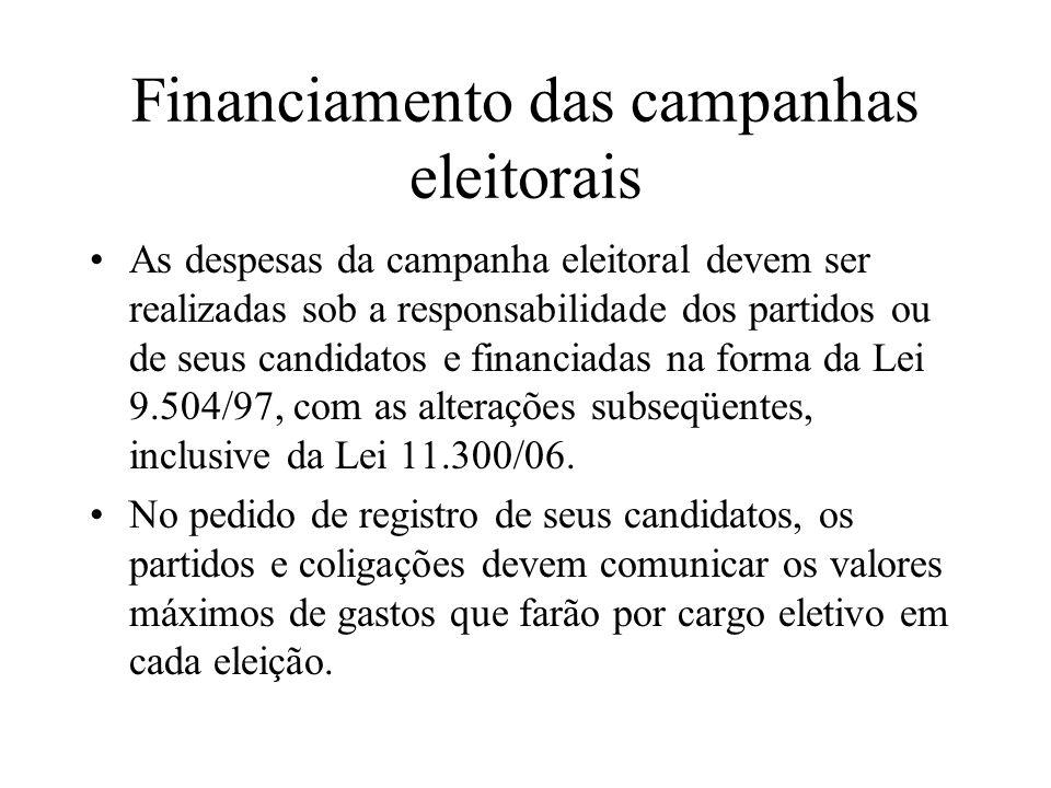 Financiamento das campanhas eleitorais As despesas da campanha eleitoral devem ser realizadas sob a responsabilidade dos partidos ou de seus candidato