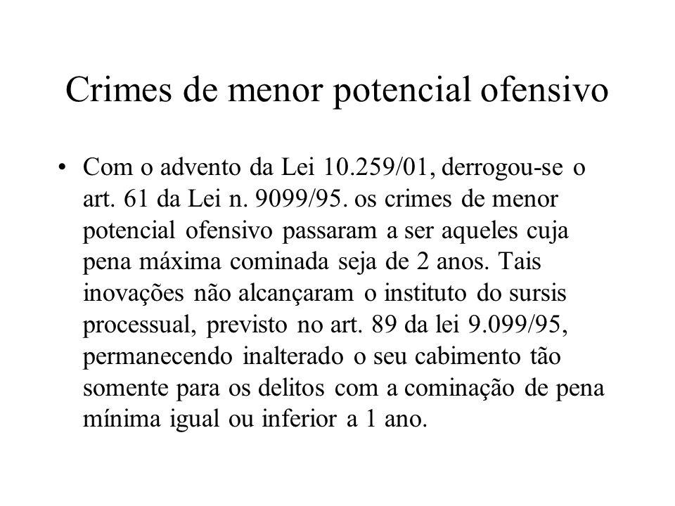 Crimes de menor potencial ofensivo Com o advento da Lei 10.259/01, derrogou-se o art. 61 da Lei n. 9099/95. os crimes de menor potencial ofensivo pass