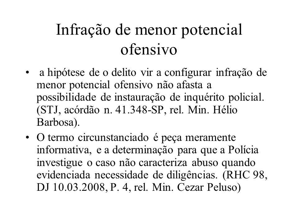 Infração de menor potencial ofensivo a hipótese de o delito vir a configurar infração de menor potencial ofensivo não afasta a possibilidade de instau