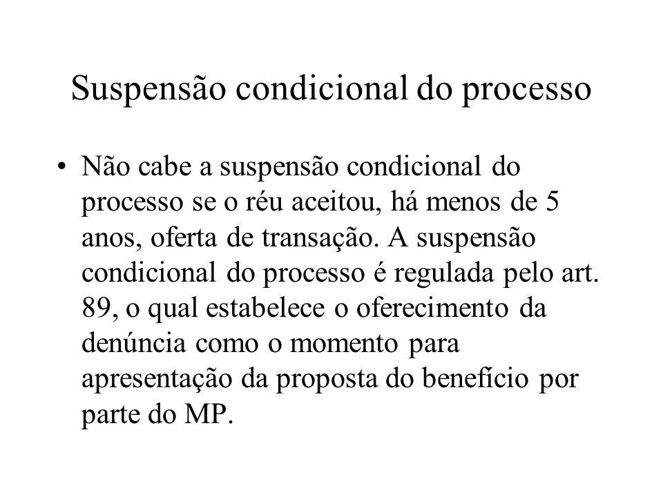 Suspensão condicional do processo Não cabe a suspensão condicional do processo se o réu aceitou, há menos de 5 anos, oferta de transação. A suspensão