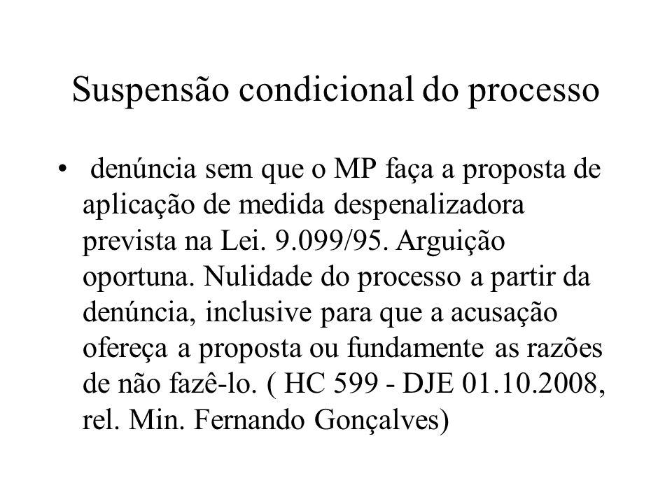 Suspensão condicional do processo denúncia sem que o MP faça a proposta de aplicação de medida despenalizadora prevista na Lei. 9.099/95. Arguição opo
