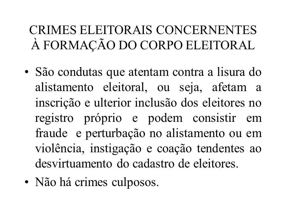 CRIMES ELEITORAIS CONCERNENTES À FORMAÇÃO DO CORPO ELEITORAL São condutas que atentam contra a lisura do alistamento eleitoral, ou seja, afetam a insc