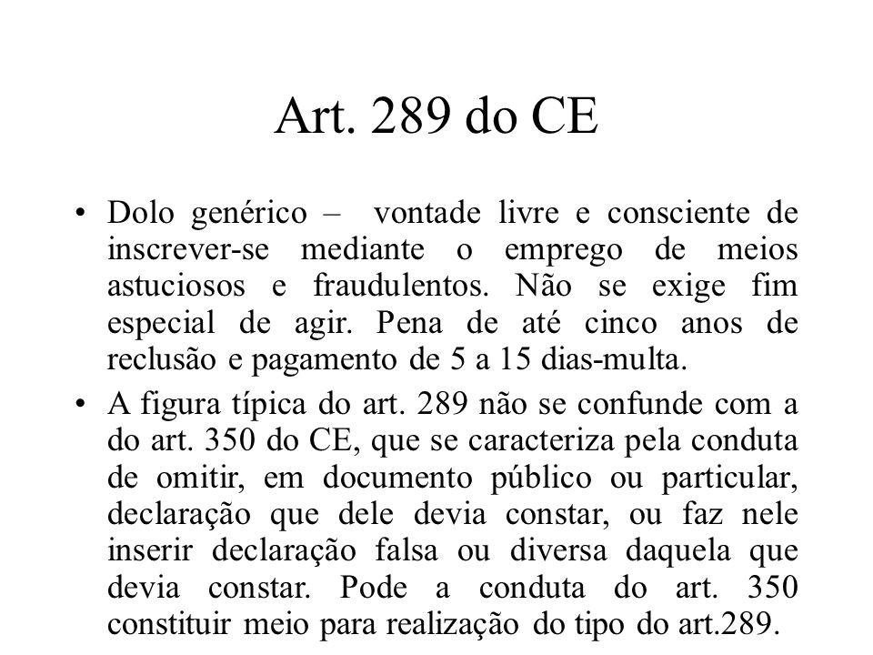Art. 289 do CE Dolo genérico – vontade livre e consciente de inscrever-se mediante o emprego de meios astuciosos e fraudulentos. Não se exige fim espe