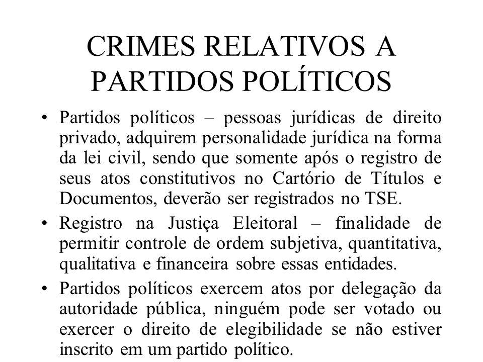 CRIMES RELATIVOS A PARTIDOS POLÍTICOS Partidos políticos – pessoas jurídicas de direito privado, adquirem personalidade jurídica na forma da lei civil