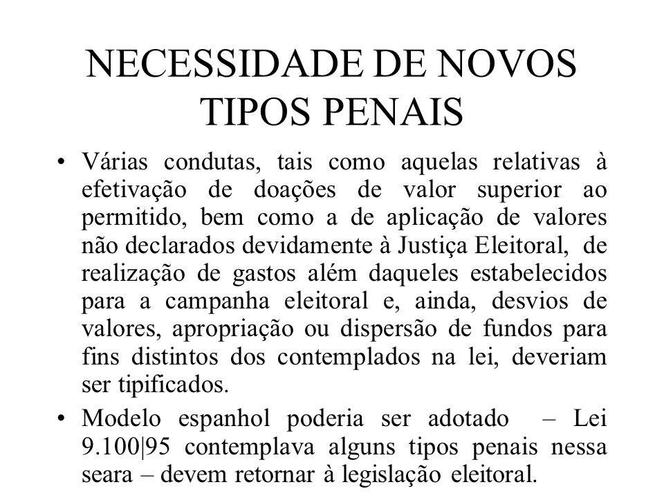 NECESSIDADE DE NOVOS TIPOS PENAIS Várias condutas, tais como aquelas relativas à efetivação de doações de valor superior ao permitido, bem como a de a