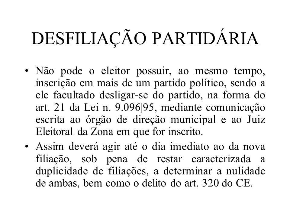 DESFILIAÇÃO PARTIDÁRIA Não pode o eleitor possuir, ao mesmo tempo, inscrição em mais de um partido político, sendo a ele facultado desligar-se do part