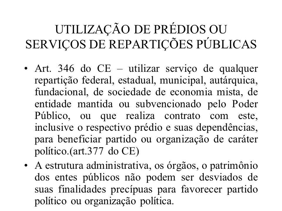 UTILIZAÇÃO DE PRÉDIOS OU SERVIÇOS DE REPARTIÇÕES PÚBLICAS Art. 346 do CE – utilizar serviço de qualquer repartição federal, estadual, municipal, autár