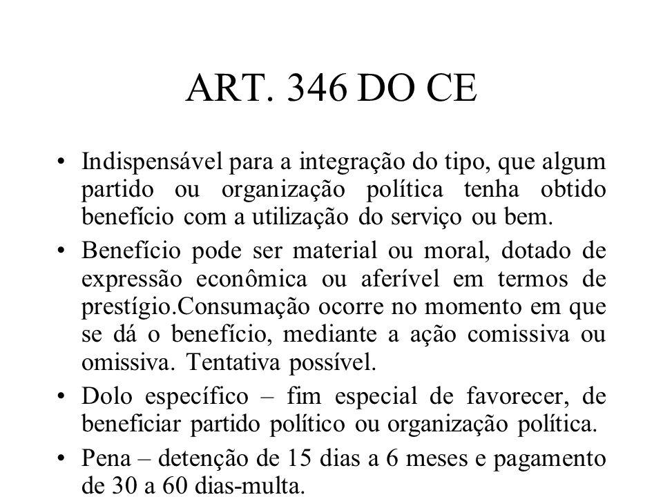 ART. 346 DO CE Indispensável para a integração do tipo, que algum partido ou organização política tenha obtido benefício com a utilização do serviço o