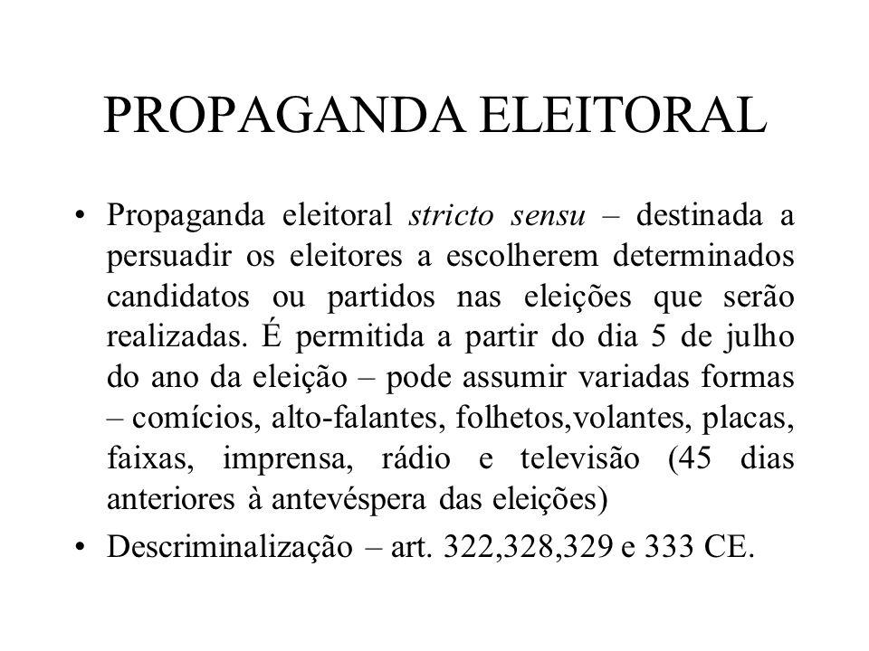 PROPAGANDA ELEITORAL Propaganda eleitoral stricto sensu – destinada a persuadir os eleitores a escolherem determinados candidatos ou partidos nas elei