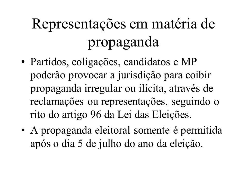 Representações em matéria de propaganda Partidos, coligações, candidatos e MP poderão provocar a jurisdição para coibir propaganda irregular ou ilícit