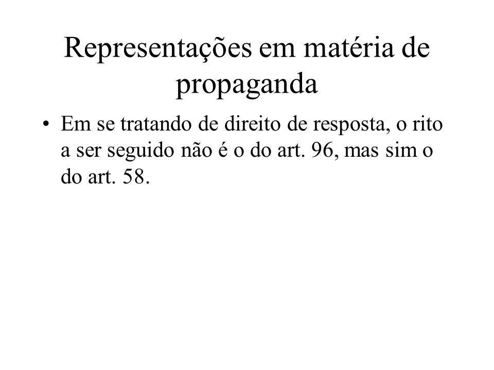 Representações em matéria de propaganda Em se tratando de direito de resposta, o rito a ser seguido não é o do art. 96, mas sim o do art. 58.